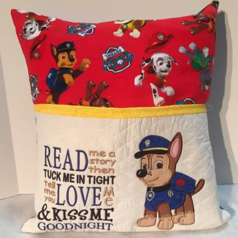 Chase Paw Patrol applique with read me a story Reading Pillow embroidery 2  designs 3 sizes