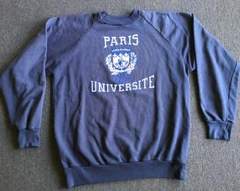 61a817c17 Vintage University of Paris Men's S/M Blue 80s Sweatshirt Universite  Sorbonne