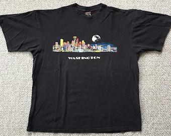 862e93bf5c8 Vintage Washington Seattle City Scape Men s XL Moonrise 90s Space Needle  Kingdome T Shirt