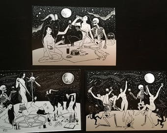 Halloween Witch Art Stickers / Coven Sabbath Black Phillip | Etsy