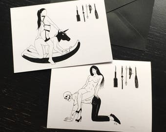 Kinky Fetish Erotic Art Print / Greeting Post Cards / Lovers Couple BDSM Worship Kink Furniture Boy Unicorn