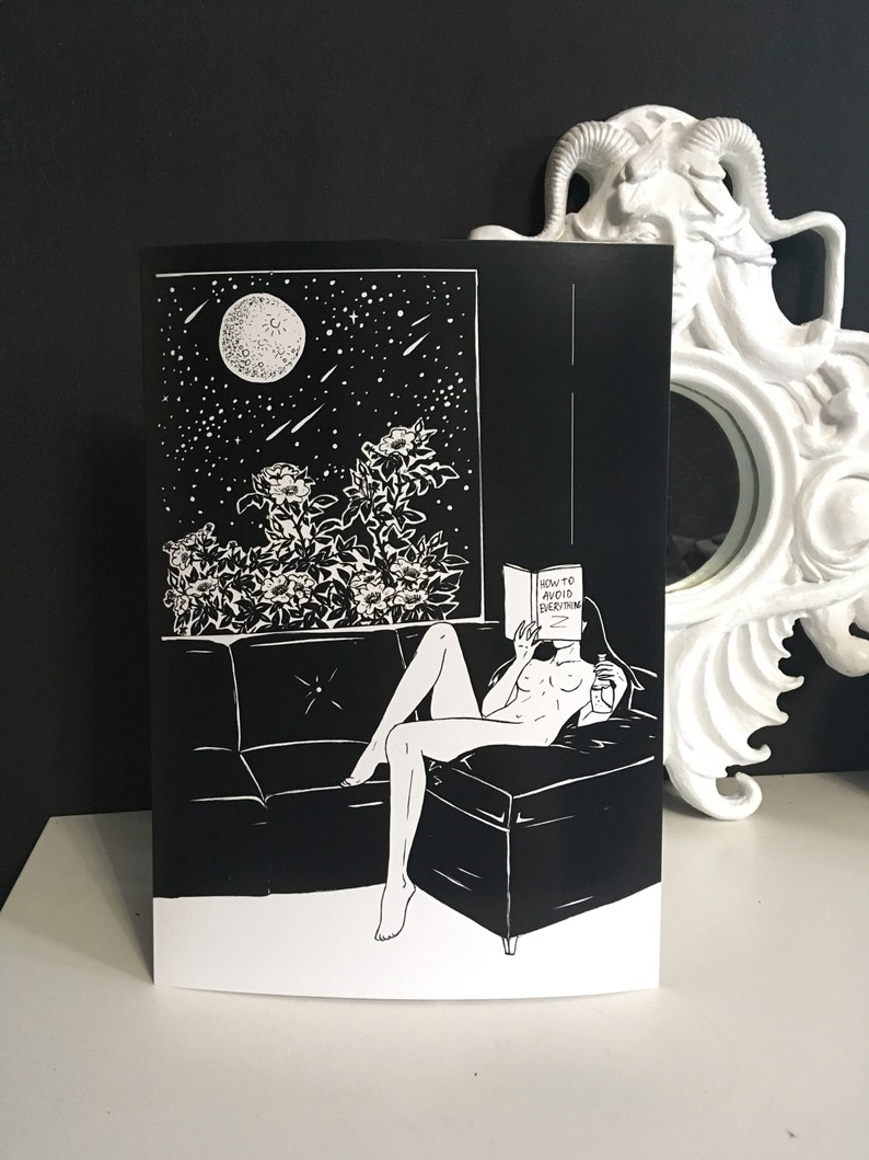 Alone In Office At Night Everything >> Avoid Everything Erotic Art Print Illustration Celestial Etsy