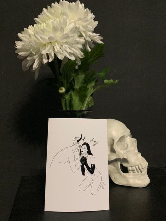 Hurt Me Harder Art Print Dark Romance Couple Lovers Satan Devil Demon Kinky Witchy Erotic Art Post Card
