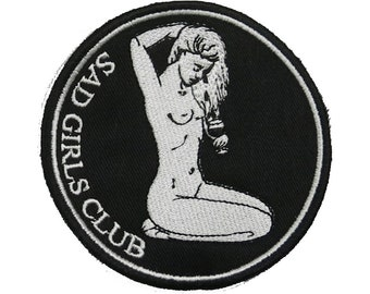 Sad Girls Club Patch / Tears into Wine  / Crying Sad Lonely Girl / Female Punk Tattoo Art / Embroidered Sew On Patch