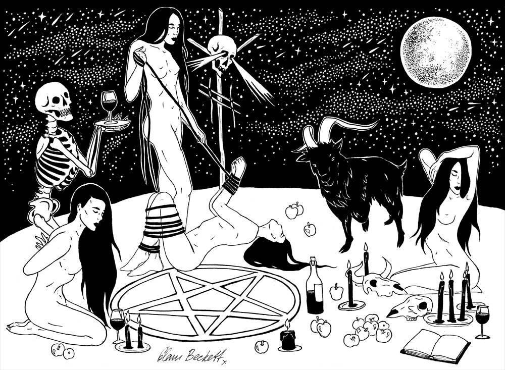 Witches Sabbath / Black Magic Occult Pagan Salem Coven VVitch Black Phillip  Goat Satan Erotic / Art Print for Sale