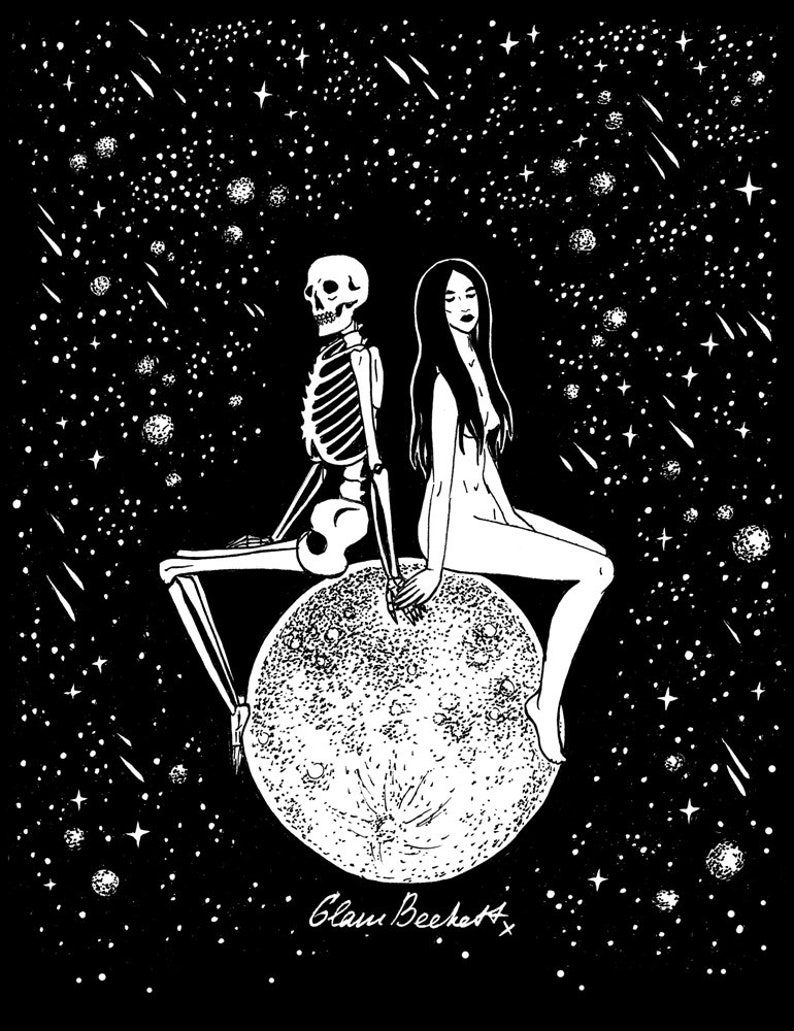 Find me on the moon art love post card death and the etsy