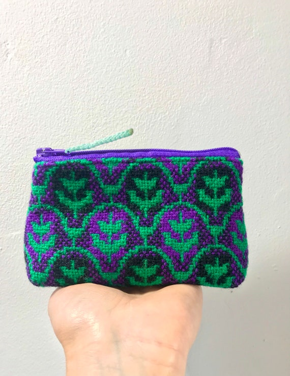 Rare Tulip Design re-purposed vintage Welsh Tapestry purse/ Coin purse/ Zipped purse/ Welsh blanket purse
