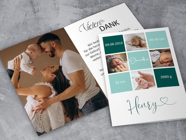 BIRTH CARD BABY  Folding card  Thanksgiving  Birth  Mint / Petrol