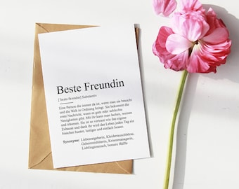 BEST FRIEND CARD | Thank you | Gift | Definition | Duden | Happiness | Birthday | Favorite Man | Soulmates | Memory