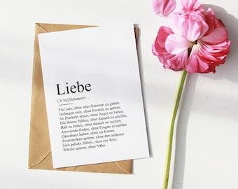 "CARD ""LOVE"" Definition | Anniversary | Valentine's Day | Wedding | Wedding day | Engagement | Gift | Duden | Memory | Love | In love"