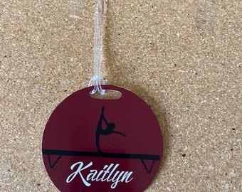 Monogrammed Personalized Gymnast Handspring Pink Out Gymnastics Gifts Aluminum Bag Tag Pink Meet Gymnastics Bag Tag