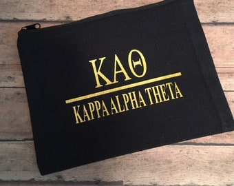 69e569920b Kappa Alpha Theta Sorority Cotton Canvas Make-Up  Cosmetic Zipper Bag Lots  of Colors to Pick From