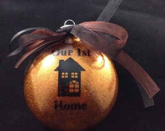 Our First Home Glitter Christmas Ornament