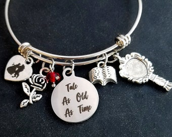afed6dd59 Tale As Old As Time Beauty and the Beast Movie Bangle Charm Bracelet Rose  with red bead, Mirror, Book Disney Inspired