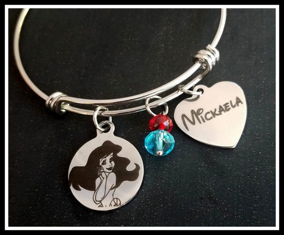 Girls Ariel inspired mermaid charm bracelet personalised with any name gift