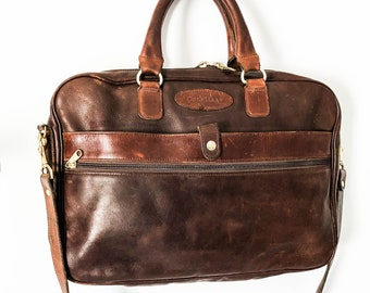d5c46fab55 Cole Haan Vintage distressed brown leather briefcase messenger bag -  Vintage Unisex attache business bag Cole Haan