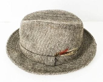 London Fog Brown wool tweed fedora hat - Hipster feathered fedora - London  Fog trilby 62000d75cc8