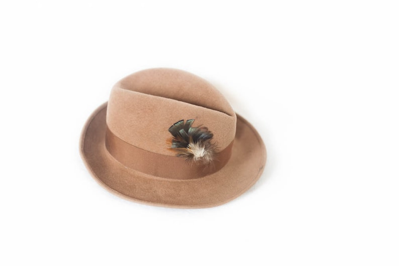 e8b8a316f369c Wool Tan fedora feathered hat Saks Fifth Avenue light brown