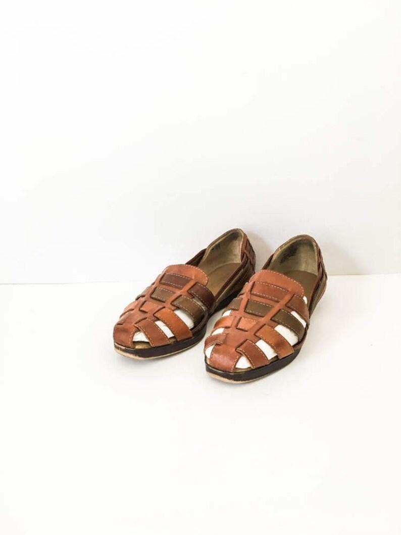 b006c36f3634a Women's Boho woven brown leather huaraches size 7M - Boho casual beach  sandals sz 7