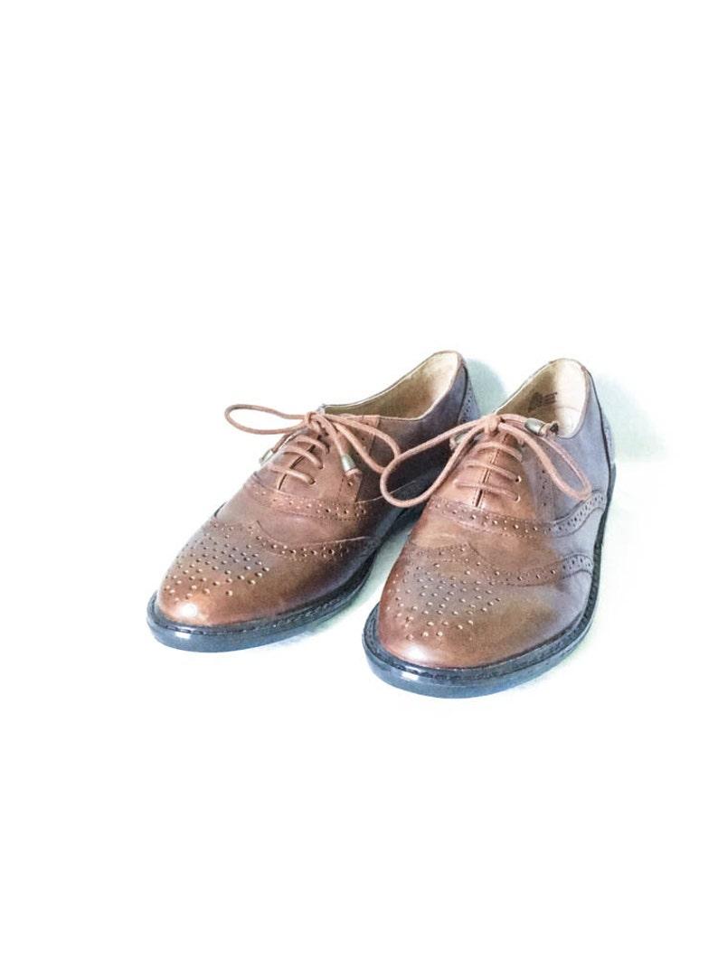 e88a82e0e9419 Men's Pesaro wingtip leather shoes size 10M - Men's brown oxford dress  shoes brogue details size 10