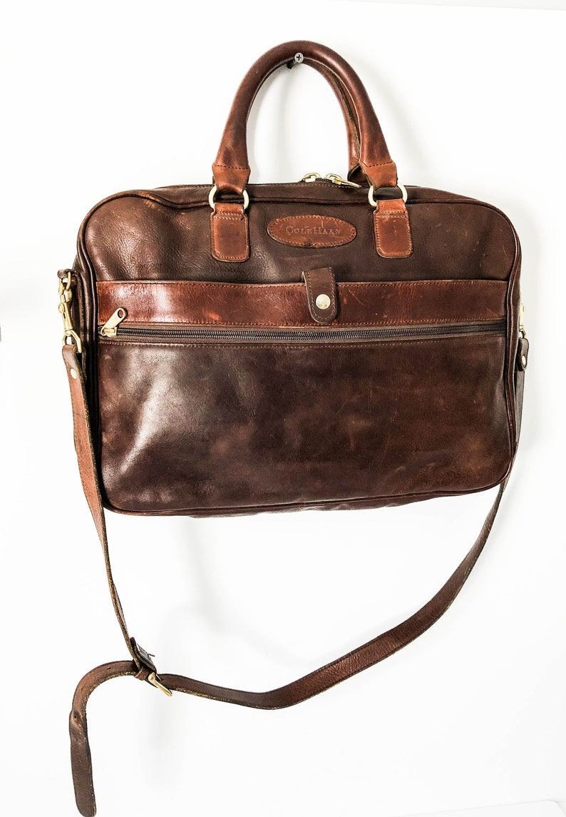 15e771e5453 Cole Haan Vintage distressed brown leather briefcase messenger | Etsy