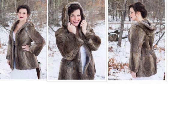 Women's Hooded Rabbit fur coat jacket - Winter fur