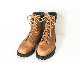 Distressed leather boots - Work boots - Men's work boots 8.5D - Leather work boots 8.5 - Men's Grunge boots - Men's boots