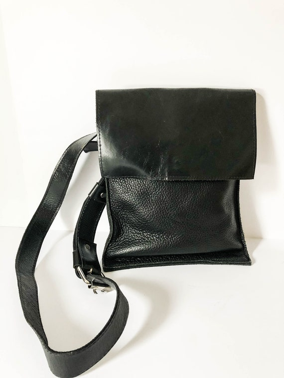 Urban black leather tote - Unisex Black leather sh