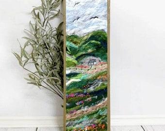 Green Fields Wool Painting, Landscape Felt Art, Needle Felted Wall Decor, Embroidered Felt Painting,  Embroidered Felt Tapestry, Modern Art