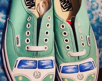 Custom hippie bus hand painted shoes 834056474