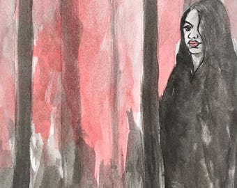 Mysterious Figurative woman original watercolor ink painting