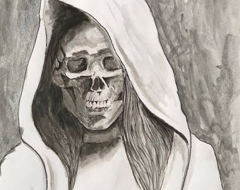 Skeleton woman drawing, ink drawing, figurative painting