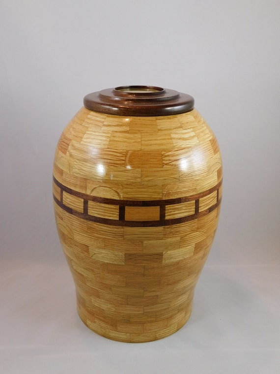 Hand Made White Oak Memorial Urn with Walnut Accent Rings and lid, Brass Threaded Closure, and Brass Inscription Disc