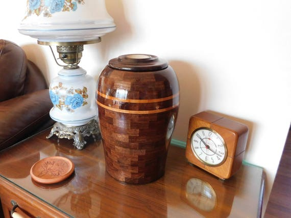 Hand Made Walnut Memorial Urn with Black Cherry Accent Rings, Brass Threaded Closure, and Brass Inscription Disc