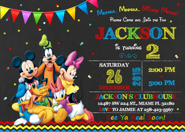Mickey Mouse Clubhouse Invitation Birthday Mickey Mouse Clubhouse