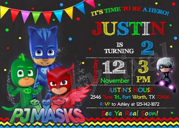Pj Masks Invitation Birthday Party