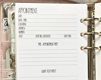PRINTED APPOINTMENT Personal Size Planner Inserts