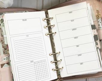 WEEKLY + Habit Tracker Personal Size Ring Bound Planner Insert