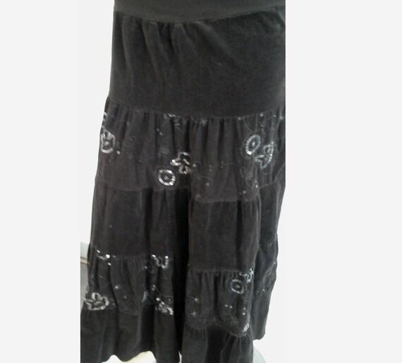 90's vintage skirt flowerpower  heavy ribcord velv