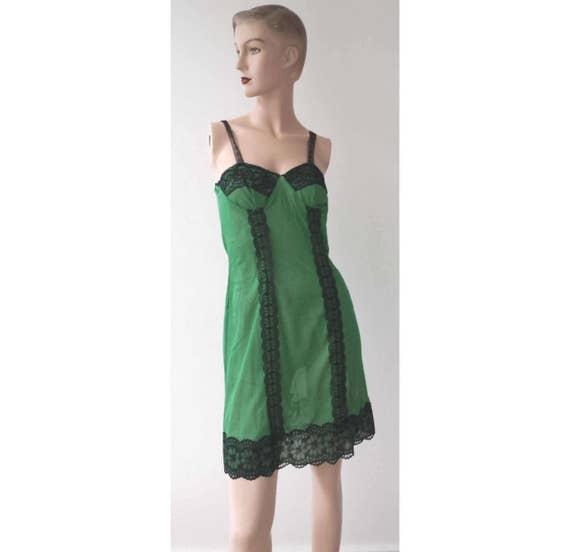 50 's new antique Black Lace green slip dress slip