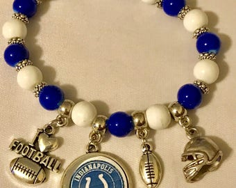 Handmade Adult Indianapolis Colts Stretch Bracelet