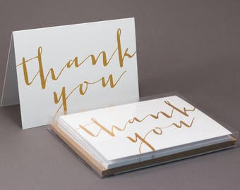 Gold Calligraphy Thank You Cards