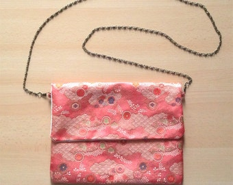 Soft salmon pink cotton inner obi fabric clutch