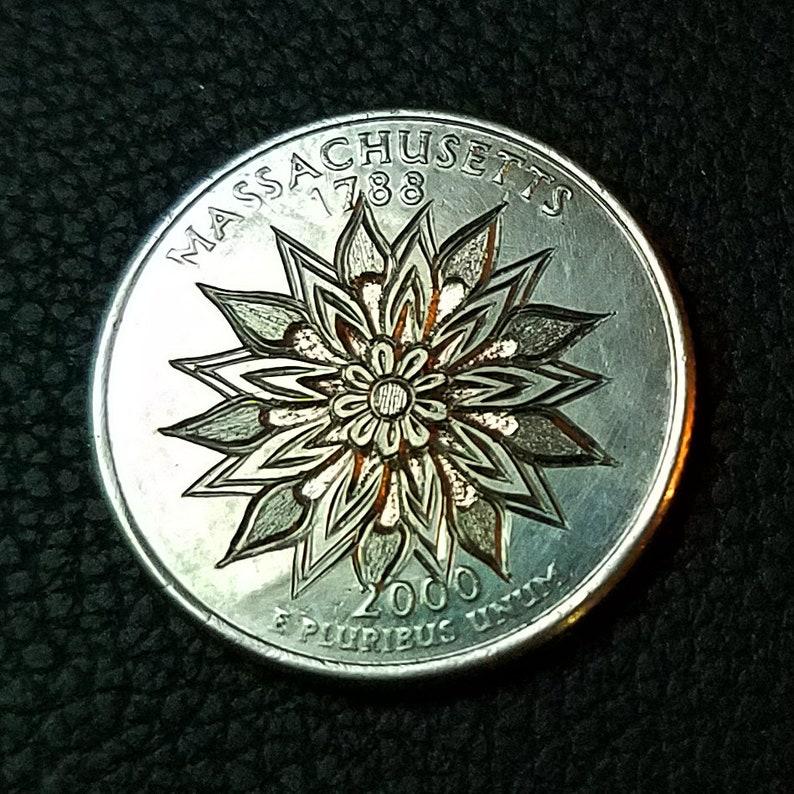 2000 D Massachusetts State Quarter with hand engraved flower