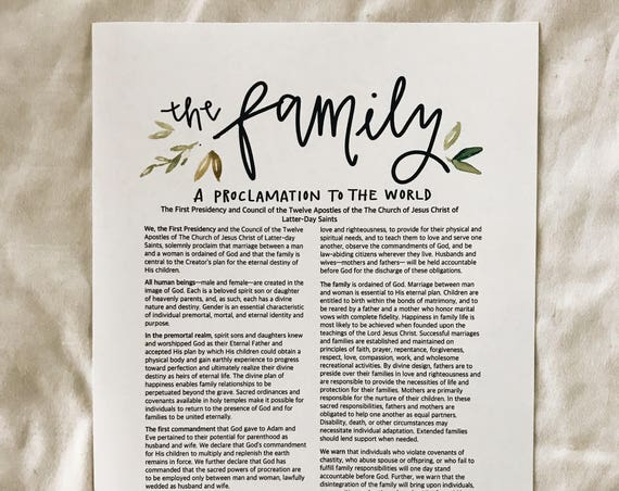 Simple greenery Family Proclamation LDS print
