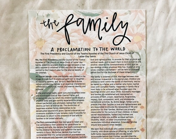 Floral Family Proclamation LDS print