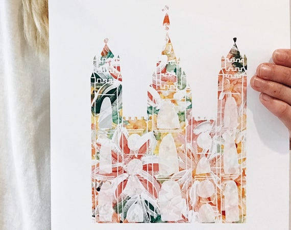 Floral Salt Lake Temple print