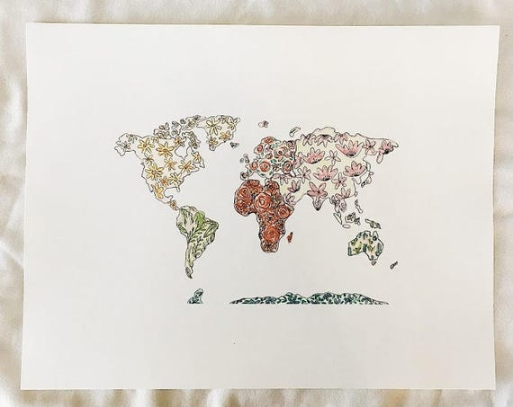 Floral world print
