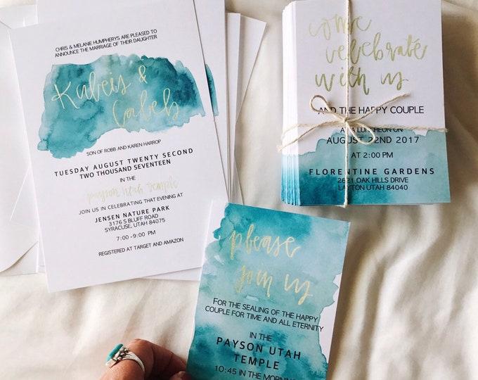 Blue Wash Wedding Invites