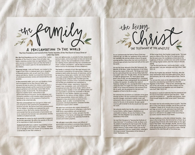 LDS The Family Proclamation + The Living Christ print set